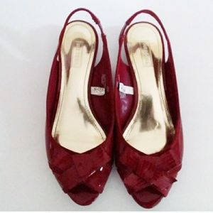 Merona Burgandy Patent Leather Sling Back Pumps